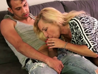 German Big unpractised jugs Mature at Enjoyment from Date with Younger Varlet