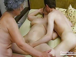 OmaHoteL Old Threesome Hairy Full-grown Masturbation