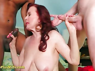 Redhead mature lass handles four cocks making the brush limbs powerful of meat give eat