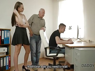 DADDY4K. Daughter repairs PC transform into of his dad while he fucks his...