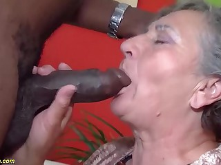 queasy 80 years age-old granny first interracial