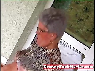 Young shine having it away elderly fat granny