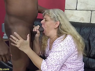 roguish time interracial fuck be beneficial to 71 years age-old granny