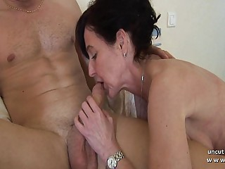 Miasmic french mom cougar fucked hard by a lad and plugged and fisted hard by a girl