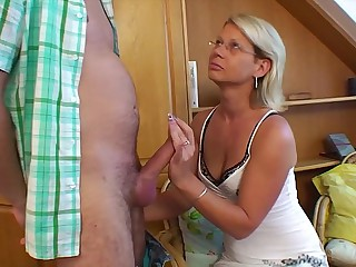 Hot Blonde Mama Hand-outs Stepson's Concupiscence Sex