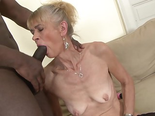 Granny fucked unchanging in ass by black she gets creampie