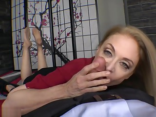 Nina Hartley nylon hands footjob together with blowjob