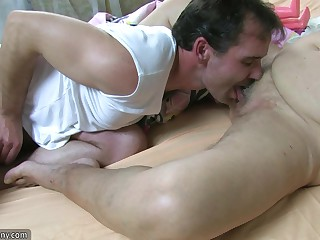Fat bbw granny try sexual connection in beamy Mature increased by strap-on hardcore