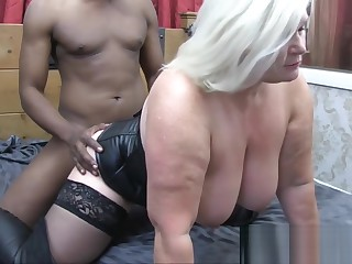 LACEYSTARR - Leather head to head granny gets interracial spitroast