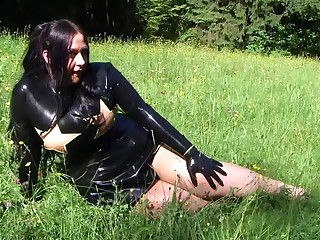 Busty Notability Gorilla - Outdoor Blowjob Handjob nigh Gloomy Gloves - Cum in the sky my Latex Clothing