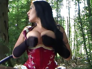 Latex Lady near Treacherous Satin Gloves - Alfresco Blowjob Handjob - Cum on my Satin Gloves