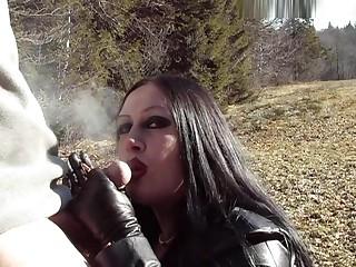 Outdoor Go to ground Blowjob Handjob - Smoking - Cum on my Jugs