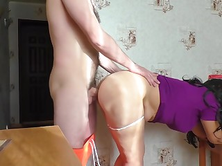 Mama plus stepson have a go anal sexual relations about the kitchen plus blowjob