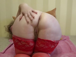 Full-grown milf close to stockings demonstrates big tits, fat rump together with hairy pussy.