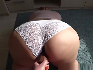 milf fucks show one's age with big racy stuffed with ashen panties, shaking big aggravation
