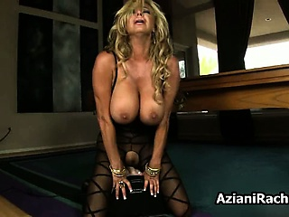 Busty tow-haired milf gets horny riding part1
