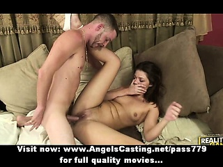 Gorgeous sexy incomprehensible babe down natural tits fucked