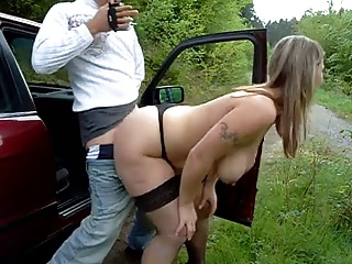 Big-busted Pro Sucking and Shagging on the Road BVR