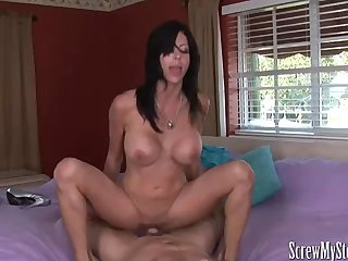Stepmom gives a silky holiday  blowjob