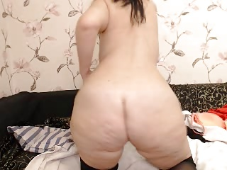 curvy chubby ass milf there glasses strips on high webcam