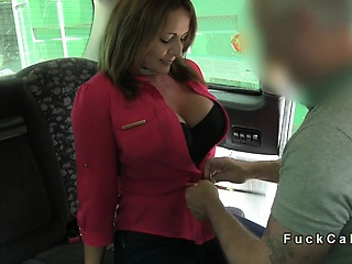Big busty amateur anal banged in fake taxi in public