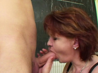 Milf Teacher show young german boy in what way to get well-spoken